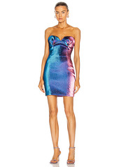 AREA Strapless Sculpted Mini Dress