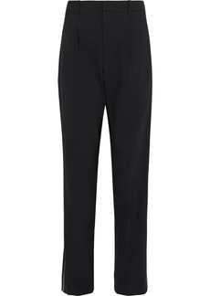 Area Woman Crystal-trimmed Woven Straight-leg Pants Black