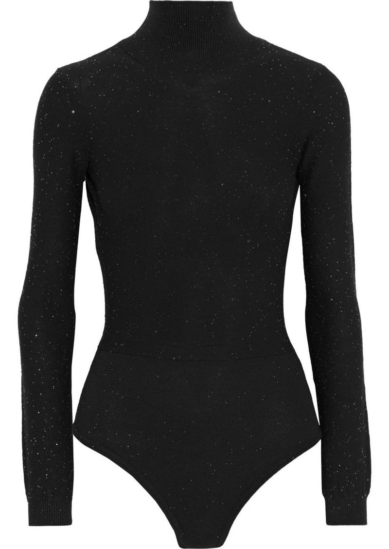 Area Woman Open-back Sequined Wool-blend Turtleneck Bodysuit Black
