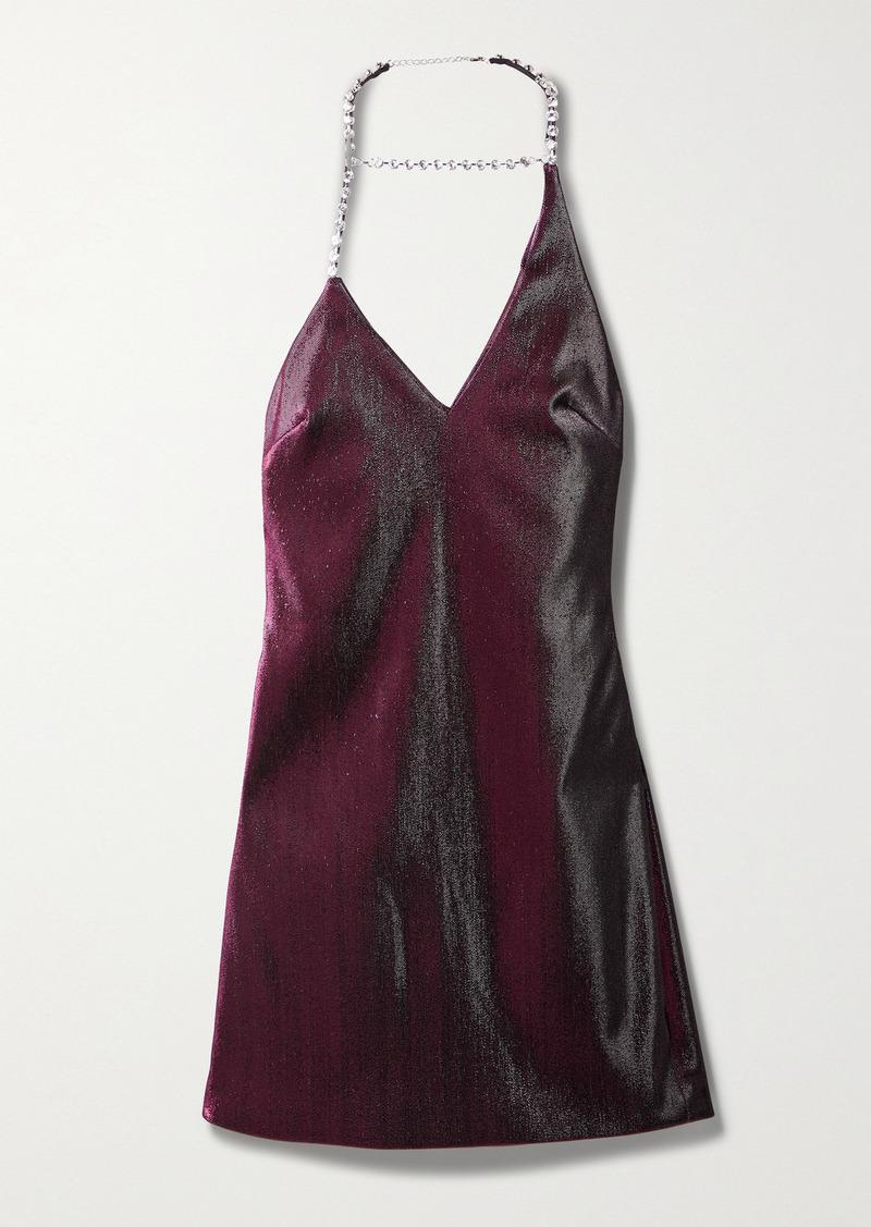 Area Asymmetric Crystal-embellished Lurex Halterneck Mini Dress