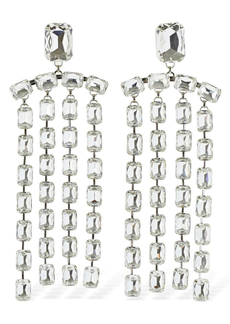 Area Baguette Crystal Fringe Clip-on Earrings