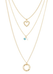 Area Beaded Heart & Circle Layered Chain Necklace
