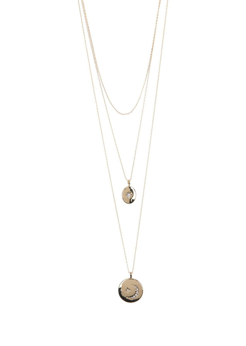 Area Bling Disc Layered Necklace Set