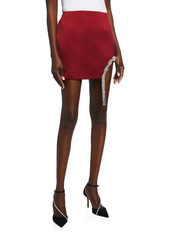 Area Braided Crystal-Embellished Cutout Miniskirt