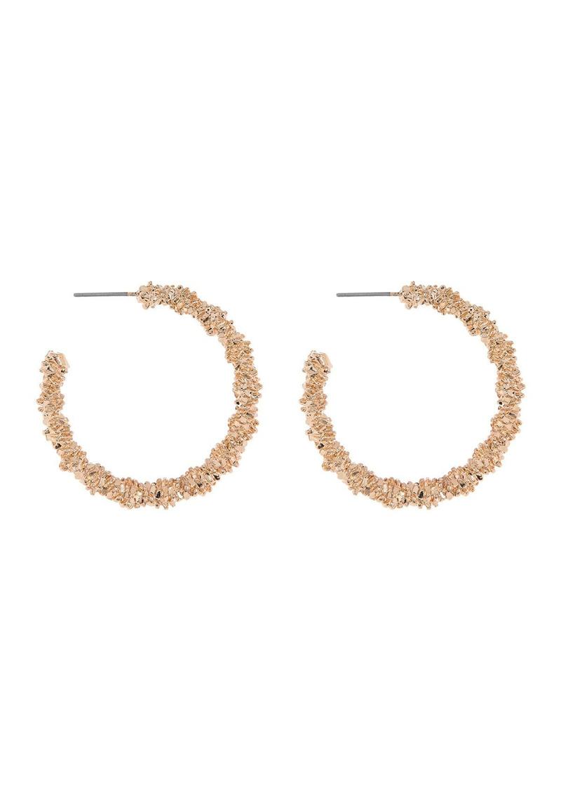 Area Brilliant Textured Hoop Earrings