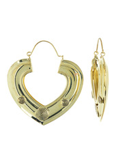 Area Burnished Swirl Heart Open Hoop Earrings