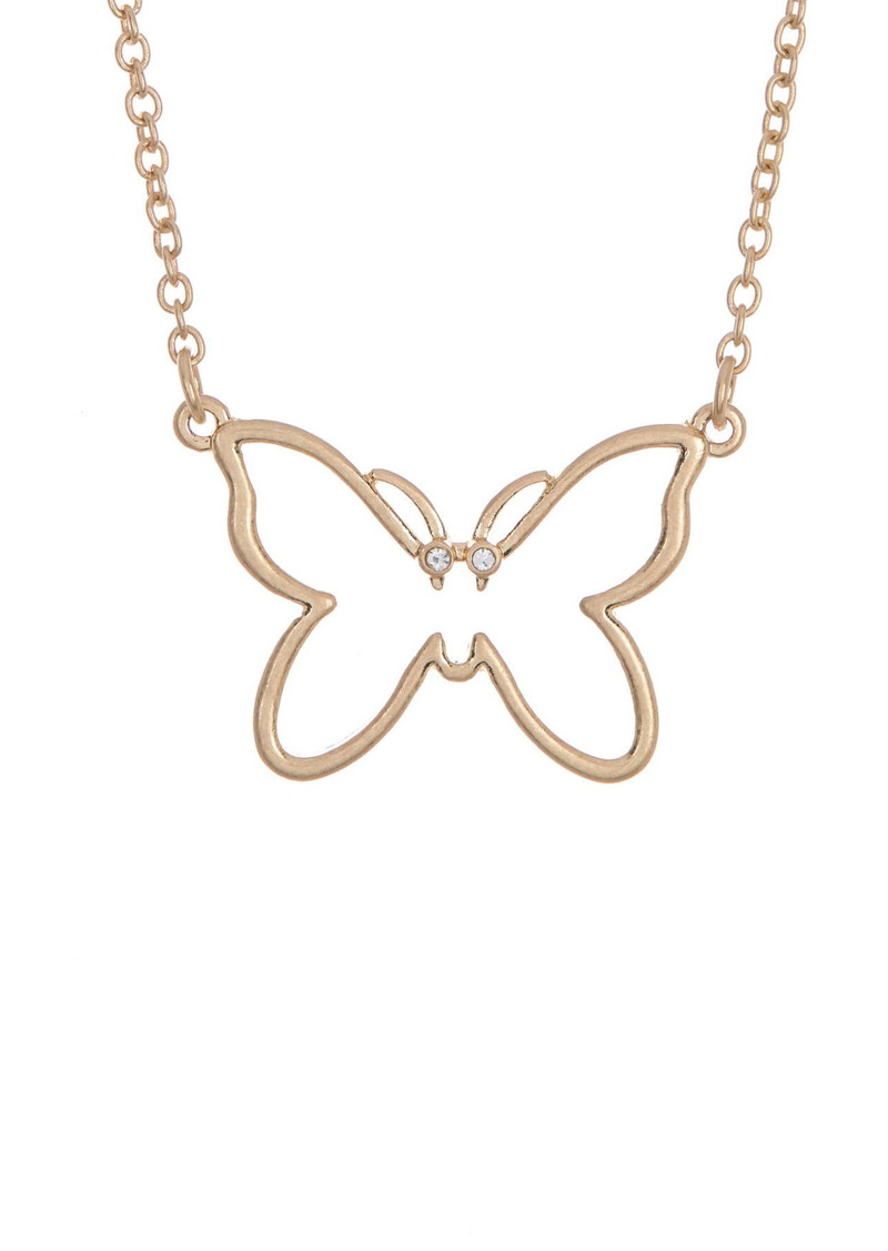 Area 14K Gold Plated Butterfly Pendant Necklace