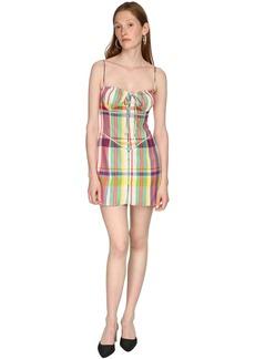 Area Check Rainbow Plaid Wool Mini Dress