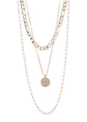Area Coin Link Layered Necklace Set