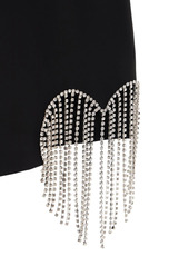 Area Cool Wool Blend Dress W/crystal Fringe