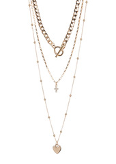 Area Cross Heart Layered Necklace Set