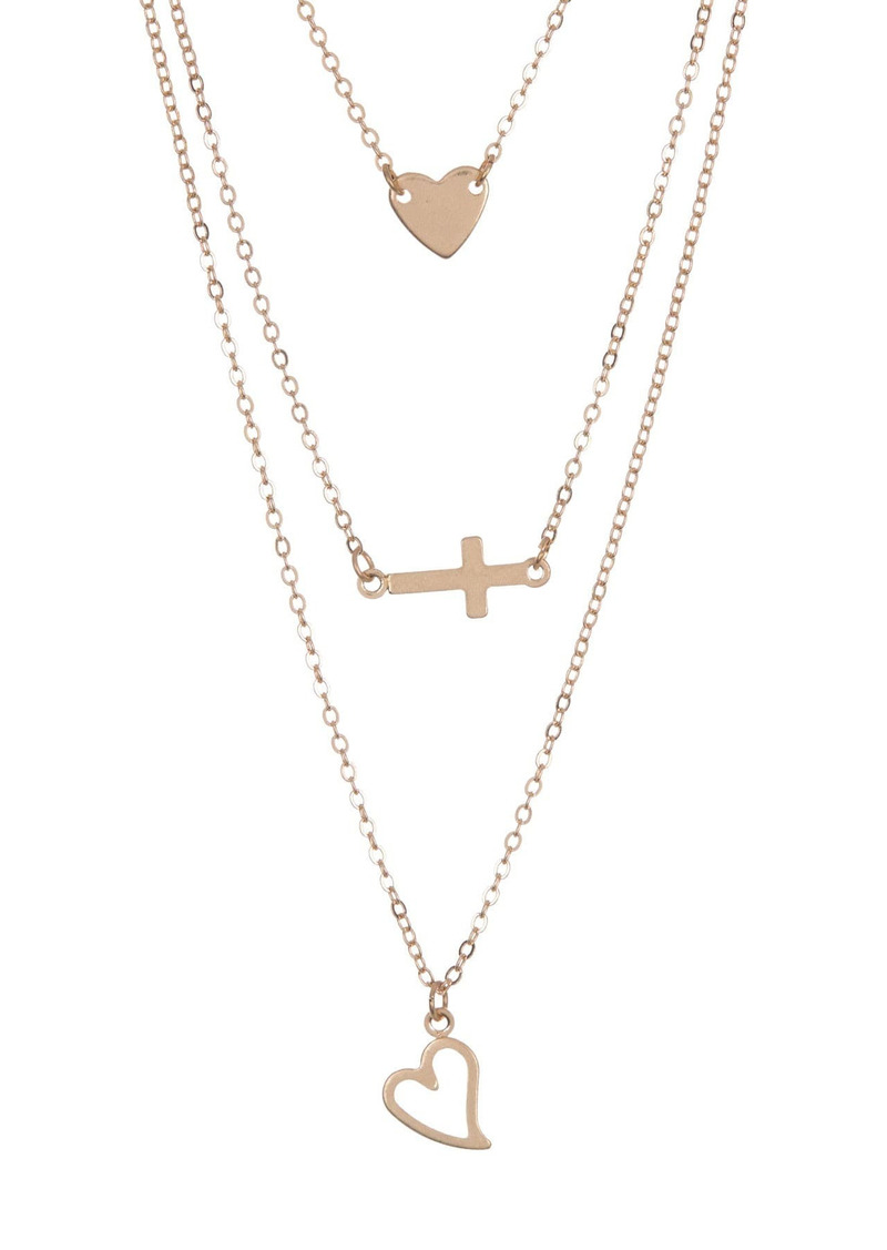 Area Cross, Heart Necklace Set - Set of 2