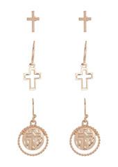 Area Cross Stud Earrings - Pack of 6