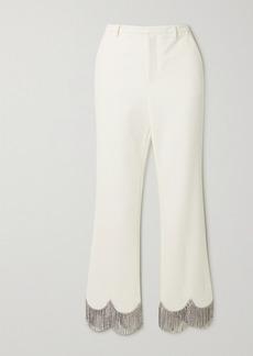 Area Crystal-embellished Crepe Straight-leg Pants