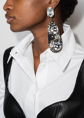 Area crystal-embellished hammered earrings