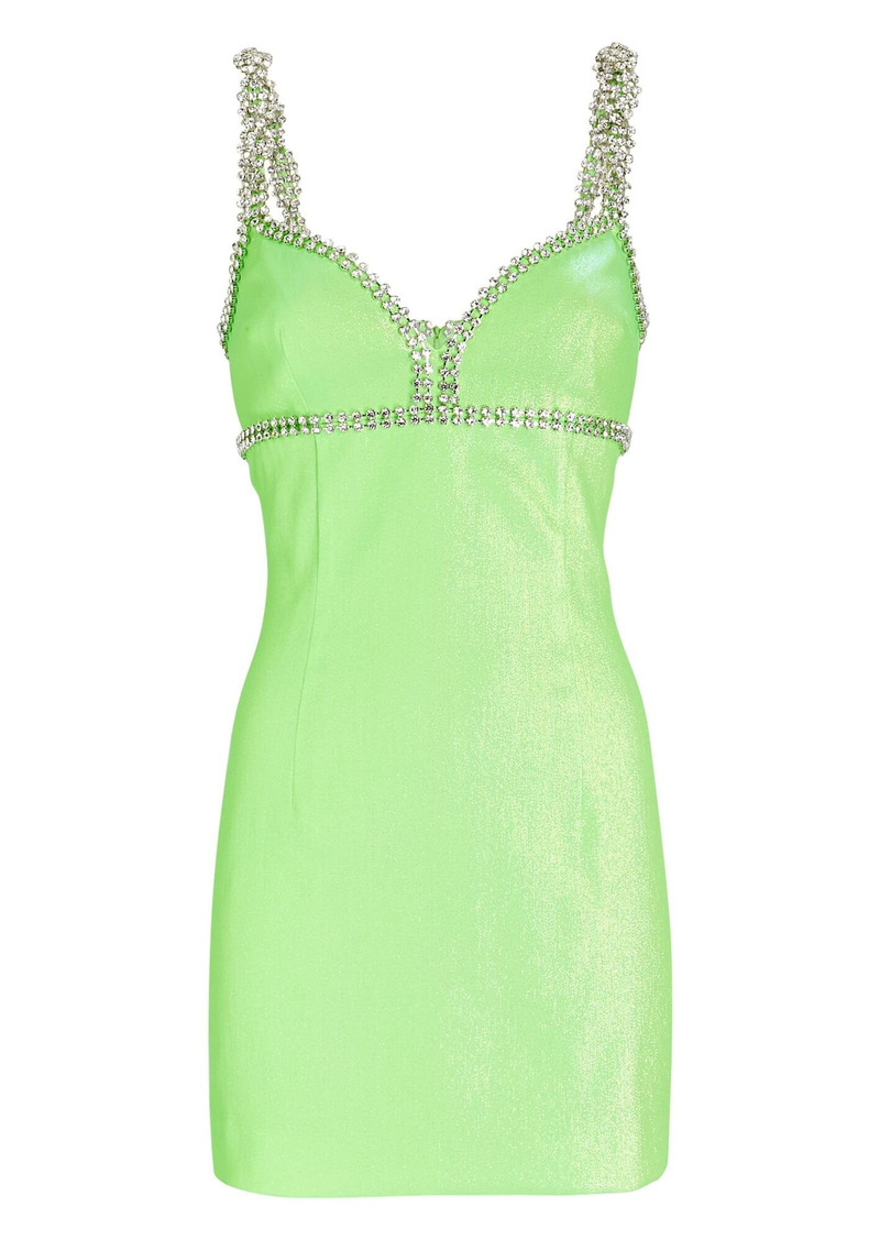 Area Crystal-Embellished Lamé Mini Dress