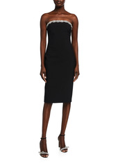 Area Crystal-Embellished Strapless Body-Con Dress