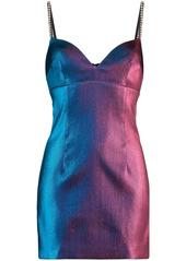 Area crystal-embellished two-tone mini dress