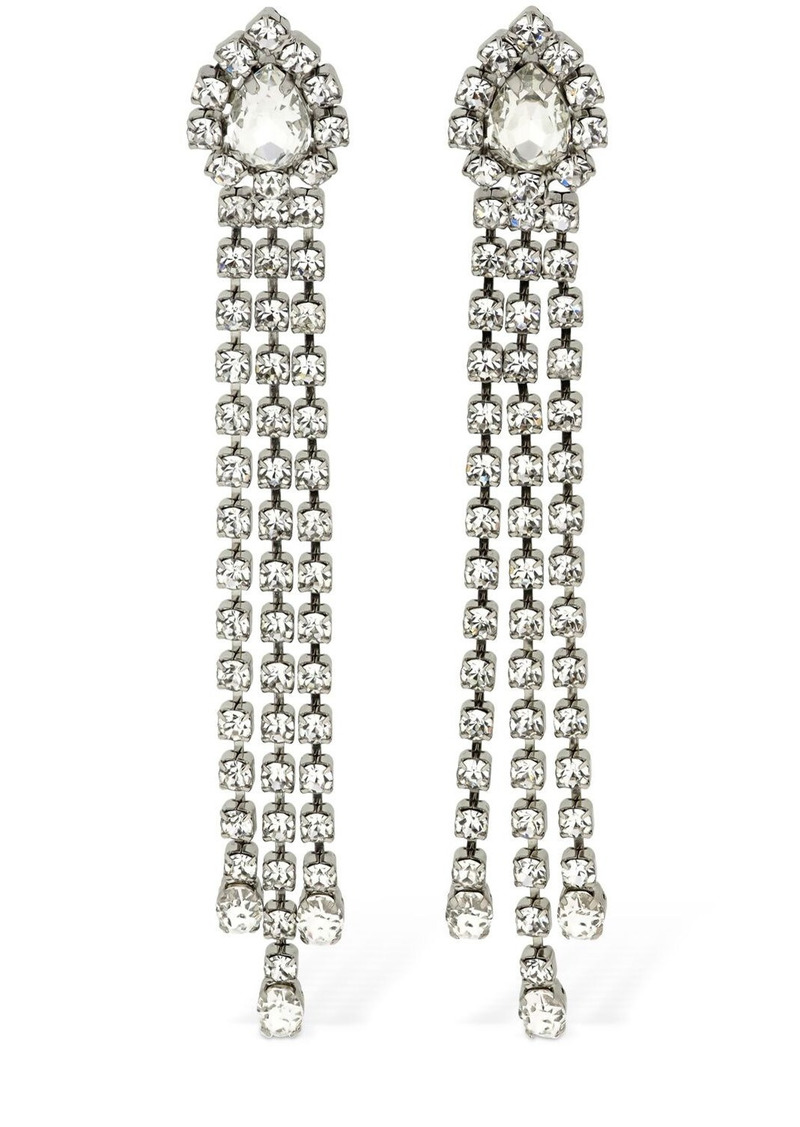 Area Crystal Fringe Drop Earrings