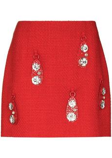 Area crystal-pendant miniskirt