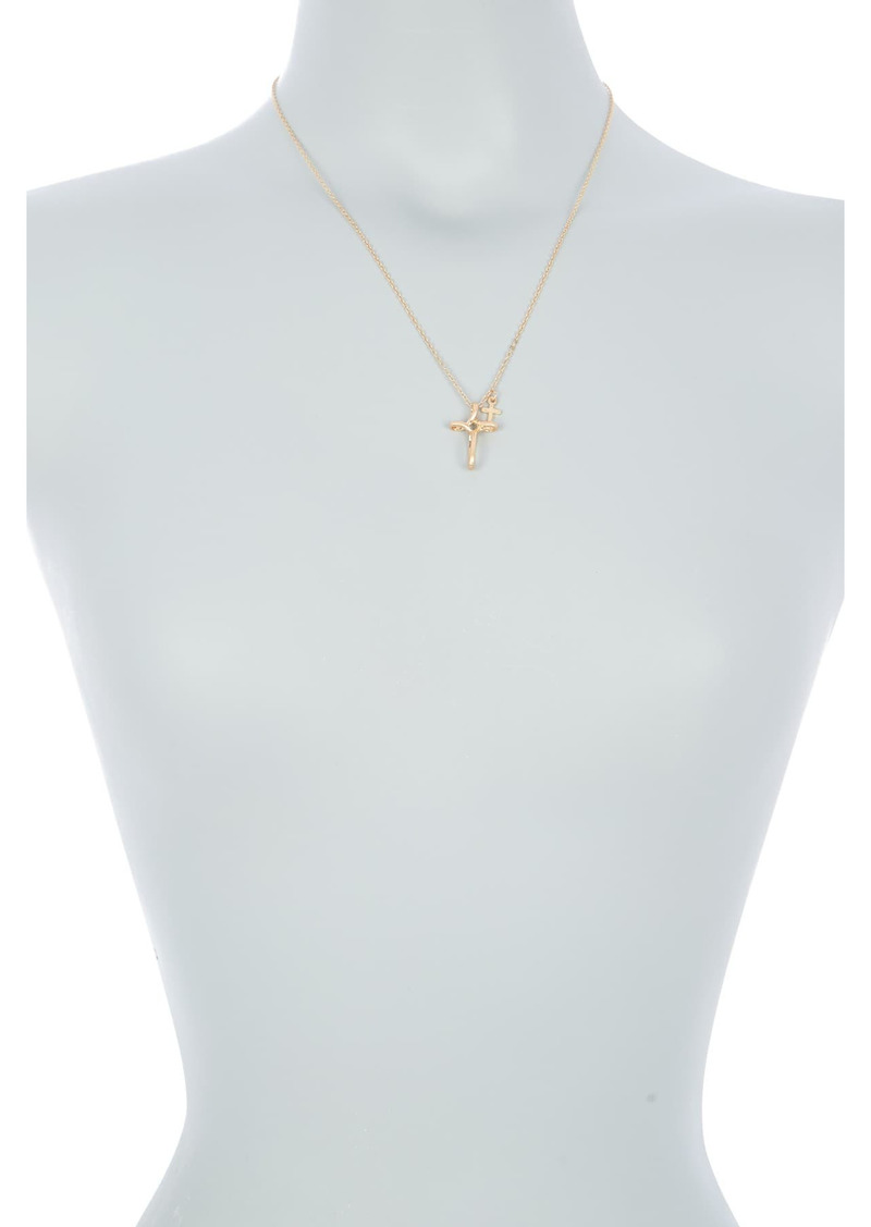Area 14K Gold Plated Curved Cross Pendant Necklace
