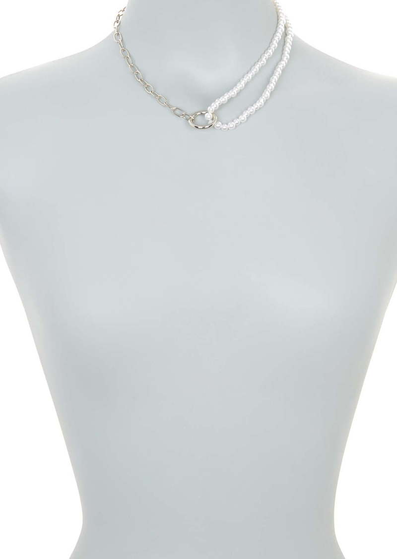 Area Double Layer Circle Pendant Chain & Faux Pearl Necklace