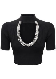 Area Embellished Rib Knit Crop Top