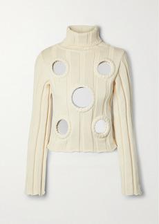 Area Embellished Ribbed Cotton-blend Turtleneck Sweater