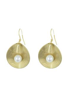 Area Etched Petal Faux Pearl Earrings