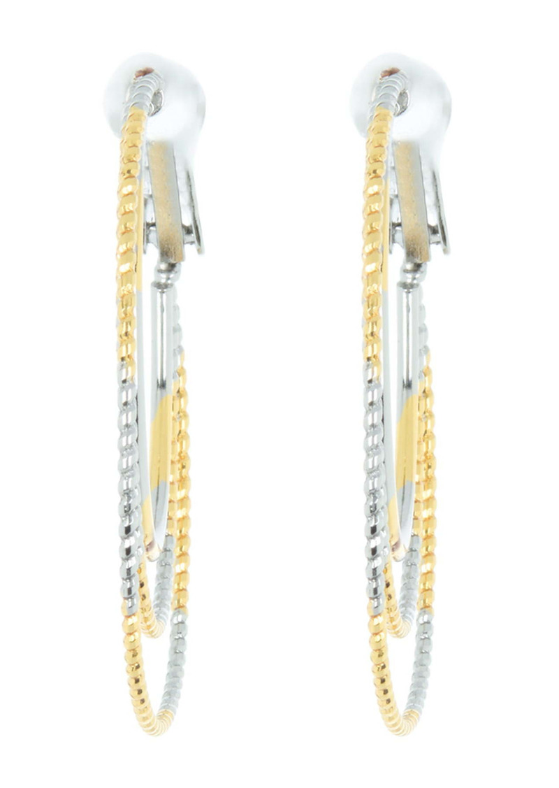 Area Etched Triple Layer Two-Tone Hoop Earrings