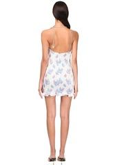Area Floral Lamé Crystal Chocker Mini Dress