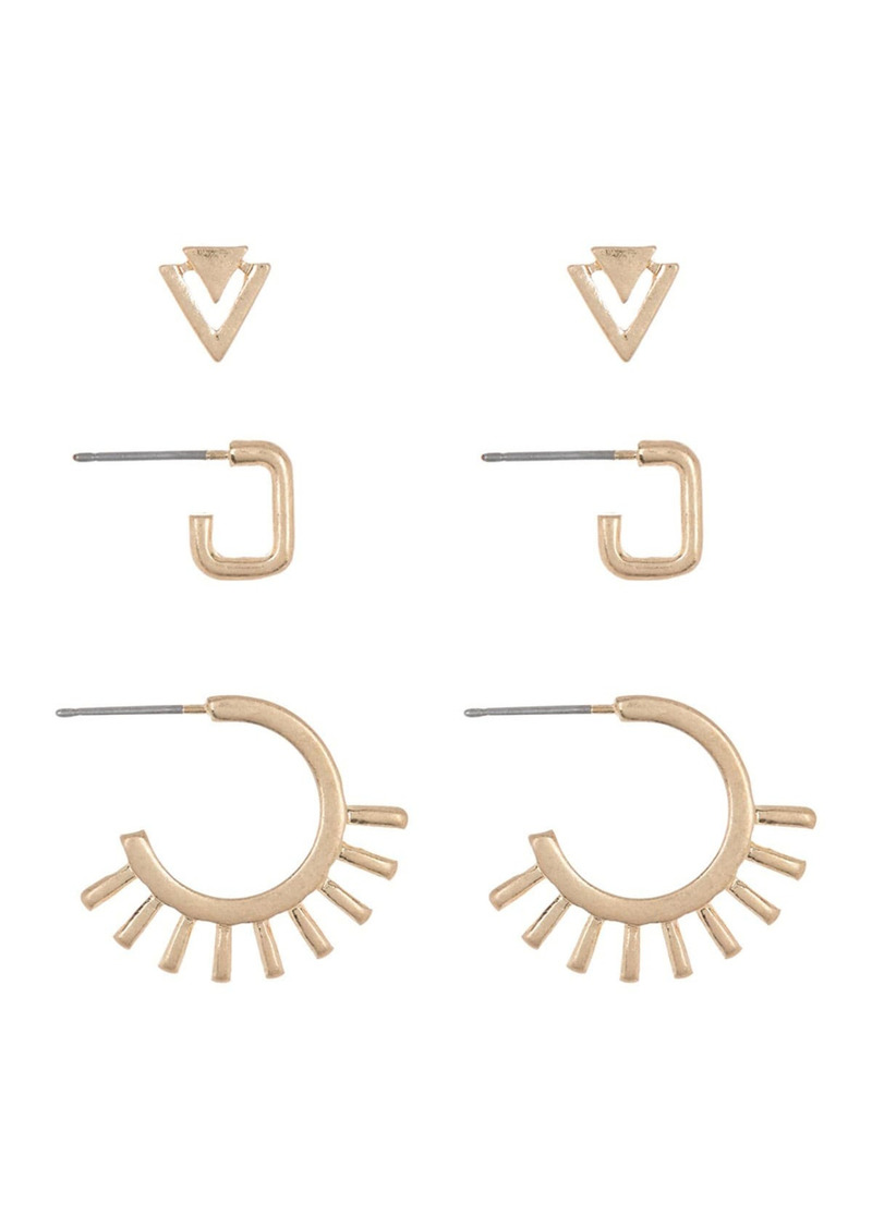 Area Geometric Earrings Set - Set of 3