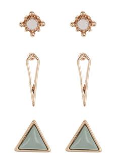 Area Geometric Stud Earrings - Set of 3