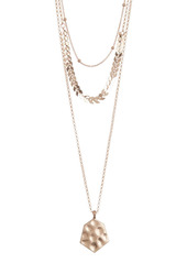 Area Gold-Tone Link & Hammered Coin Triple Layered Necklace