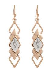 Area Gold-Tone Natural Stone Geometric Drop Earrings