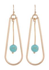 Area Gold-Tone Pendulum Oval Stone Center Drop Earrings