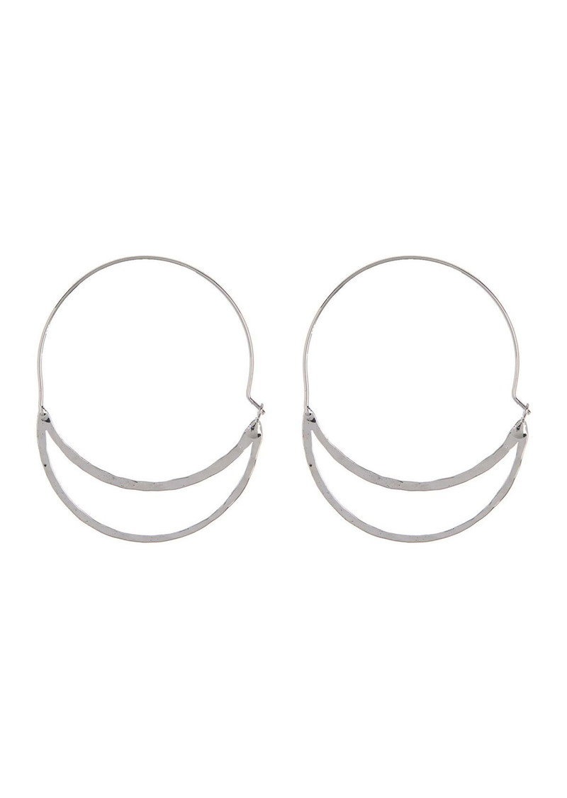 Area Hammered Double Oval Hoop Earrings