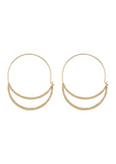 Area Hammered Double Oval Hoop Earrings