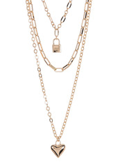 Area Heart & Lock Layered Necklace Set