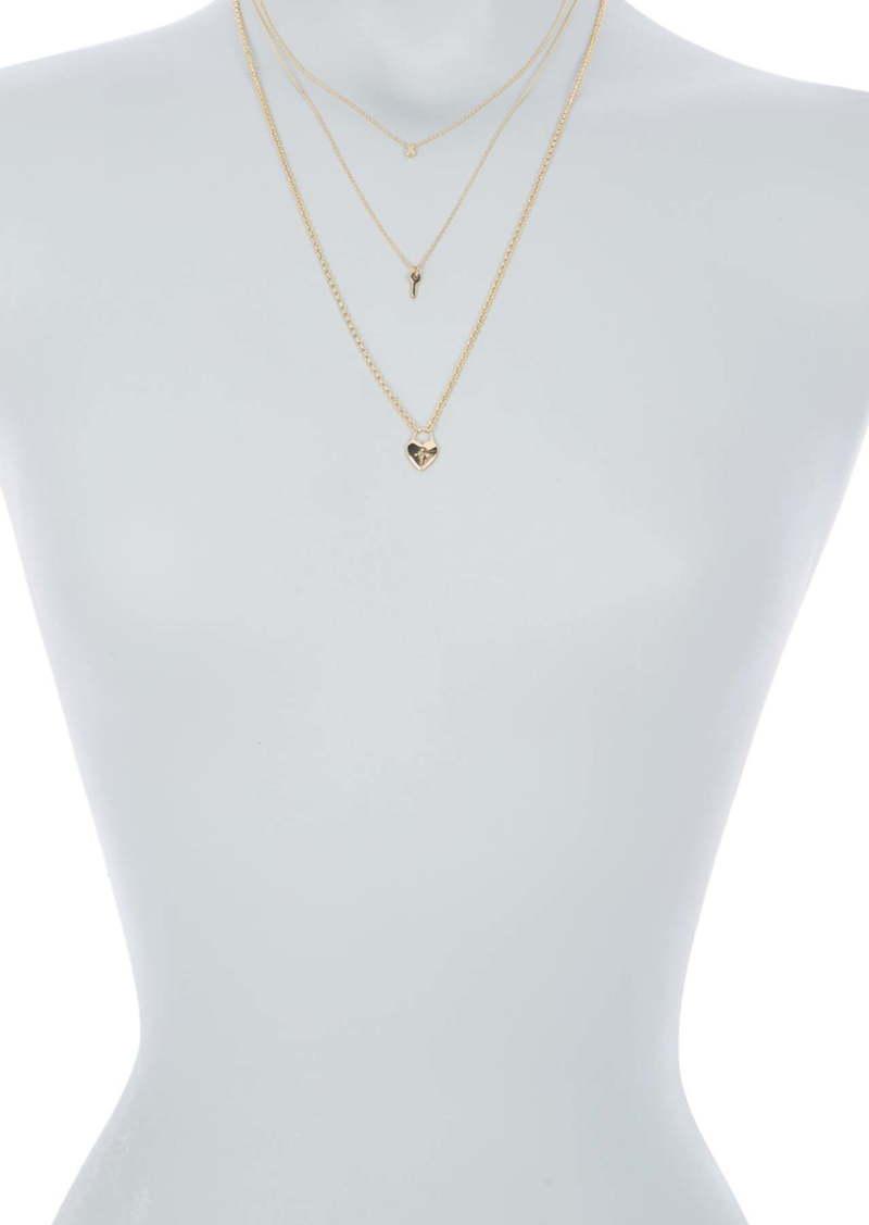 Area Heart Lock & Key Layered Necklace Set