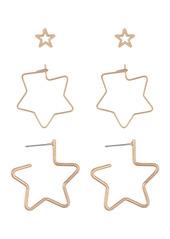 Area Hollow Stars Earrings Set - Set of 3