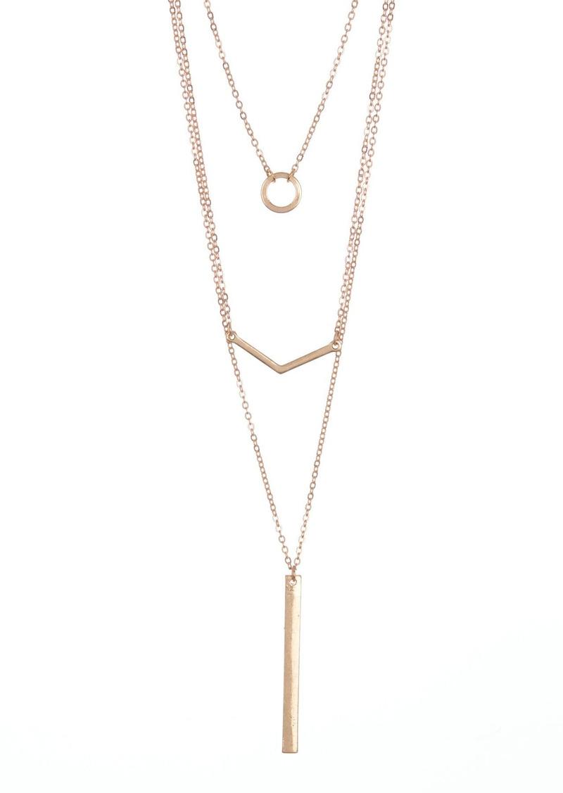 Area Layered Chain & Geometric Pendant Necklace Set - Set of 3