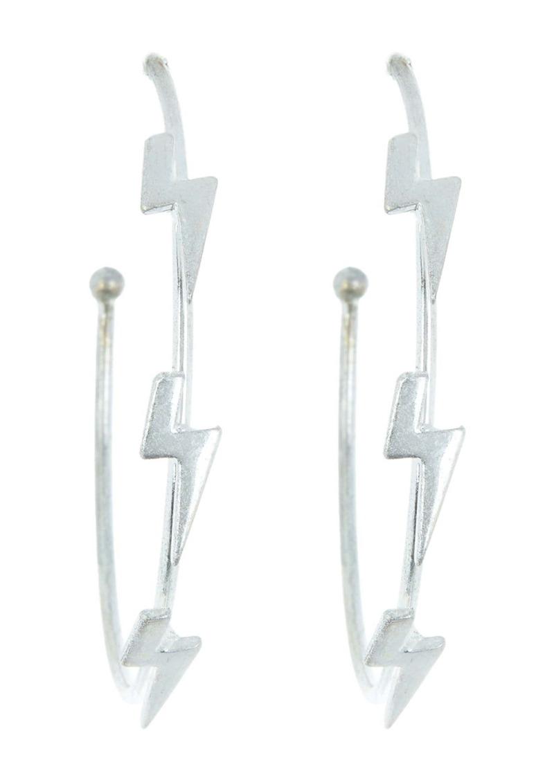 Area Lightning Bolt Open Hoop Earrings