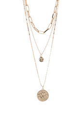 Area Link Coin Layered Necklace Set
