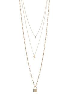 Area Lock & Key Layered Necklace Set