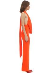Area Long Draped Velvet Jumpsuit
