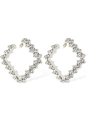 Area Medium Crystal Square Hoop Earrings