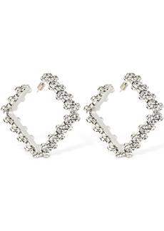 Area Medium Crystal Square Hoop Earrings
