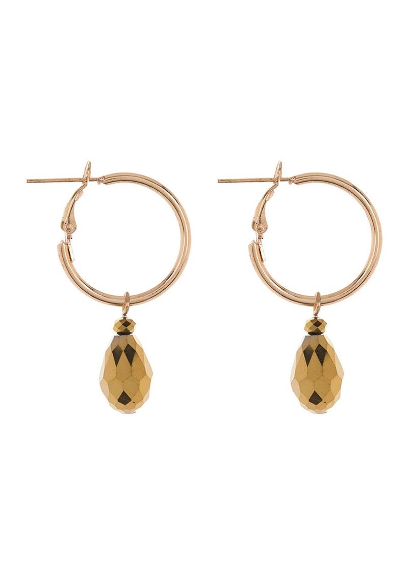 Area Mini Bronze Drop Stone Hoop Earrings