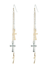Area Mini Cross Triple Layer Tri-Tone Fringe Dangle Earrings